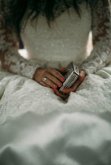 Embellished Long Sleeve Wedding Dress and Wedding Purse