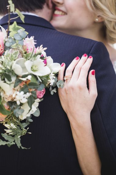 Pink and White Bouquet with Pink Nails