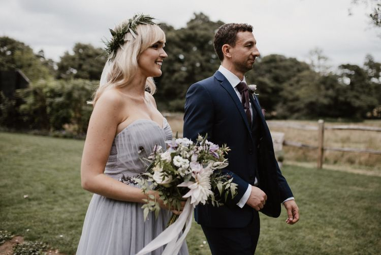 Bridesmaid and Groomsmen in Flower Crown and Grey Bridesmaid Dress