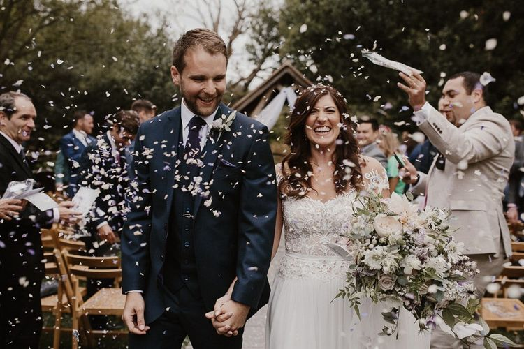 Confetti Throwing With Bride and Groom