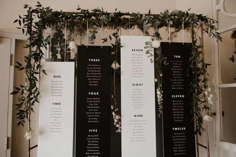 Wedding Table Plan with Contemporary Detail and Foliage