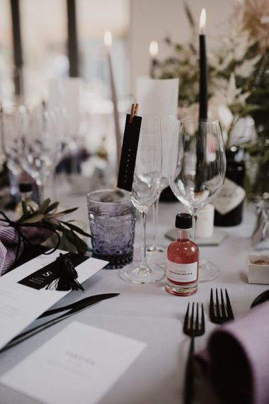 Wedding Table Setting Detail with Gin Wedding Favour and Foliage Details