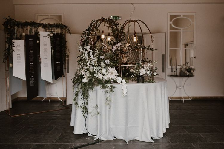 Stylish Wedding Decor Floral Displays Geometric Decor