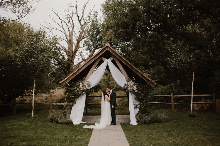 Outdoor Wedding Altar Style With Bride and Groom