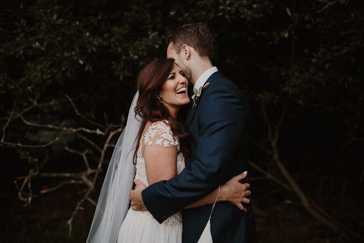 Wedding Portrait of Bride and Groom Happy Couple