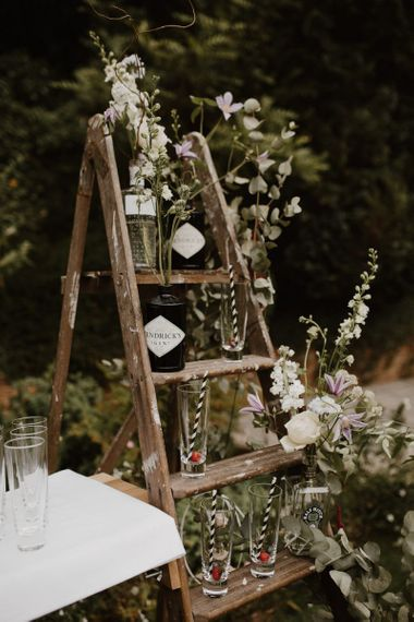 Wedding Gin Bar with Glass Bottles and Step Ladder