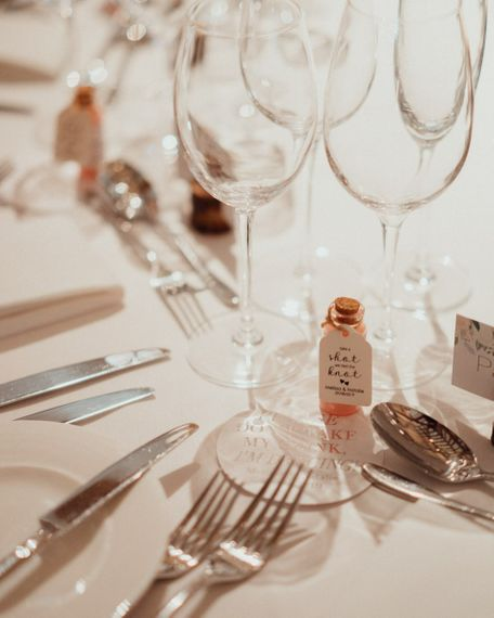 Wedding table decor and favours at Micklefield Hall wedding