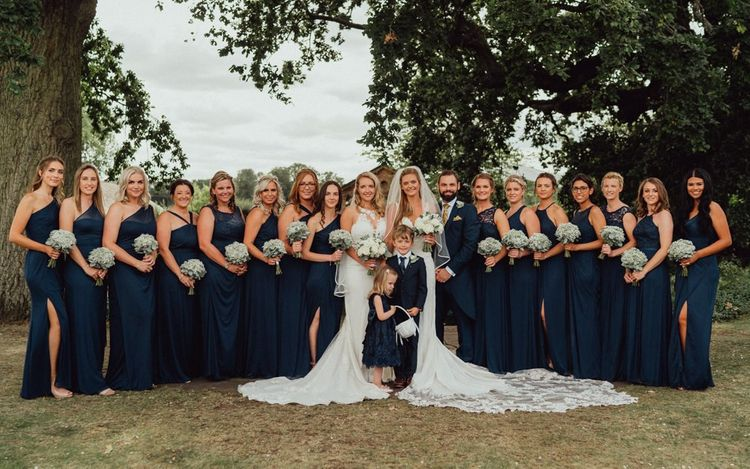 Navy bridesmaid dresses for bridal party at Micklefield Hall wedding