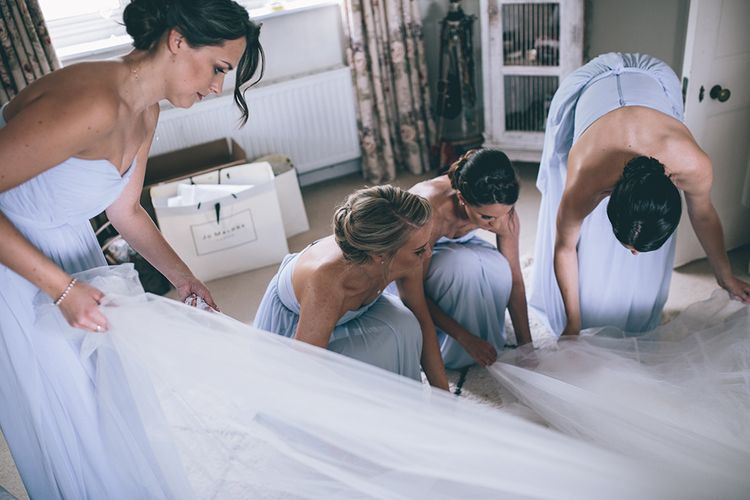 Wedding Morning Preparations | Pastel Blue Bridesmaids Dresses from ASOS | Halterneck Maggie Sottero Dress and Garden Games at Gate Street Barn | Story + Colour Photography