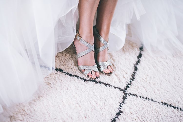 Wedding Morning Preparations | Beaded Halterneck Bridal Gown with Tulle Skirt and Spaghetti Straps by Maggie Sottero | Sparkly Silver Jimmy Choo Shoes | Halterneck Maggie Sottero Dress and Garden Games at Gate Street Barn | Story + Colour Photography