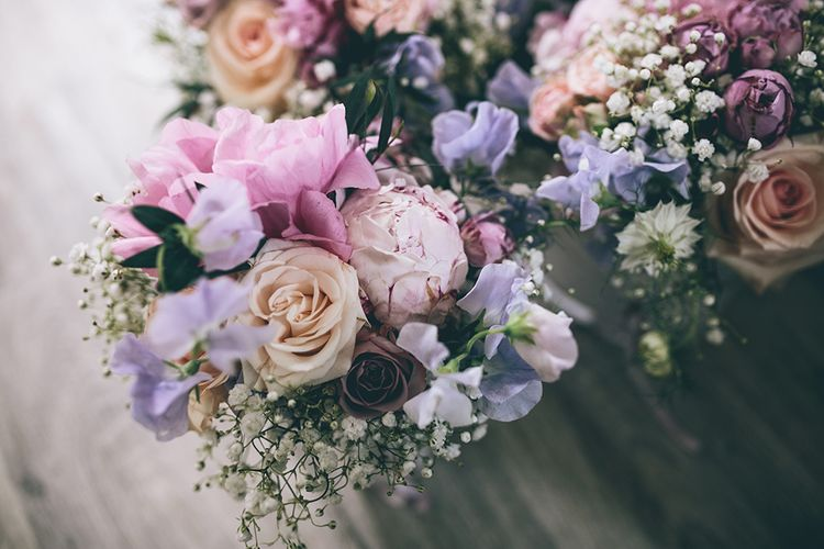 Pastel Wedding Bouquet | Pink Peonies | Halterneck Maggie Sottero Dress and Garden Games at Gate Street Barn | Story + Colour Photography