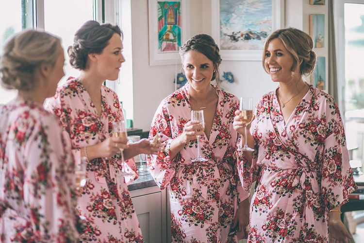 Wedding Morning Preparations | Bridesmaids in Pink Floral Getting Ready Robes | Halterneck Maggie Sottero Dress and Garden Games at Gate Street Barn | Story + Colour Photography