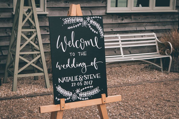 Wedding Reception Decor | Welcome Sign | Halterneck Maggie Sottero Dress and Garden Games at Gate Street Barn | Story + Colour Photography