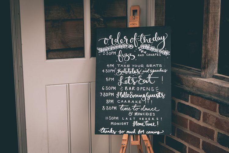 Wedding Reception Decor | Order of the Day Sign | Halterneck Maggie Sottero Dress and Garden Games at Gate Street Barn | Story + Colour Photography