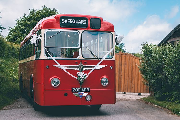 Retro Wedding Bus | Halterneck Maggie Sottero Dress and Garden Games at Gate Street Barn | Story + Colour Photography