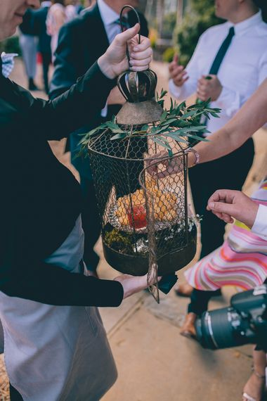 Wedding Reception at Gate Street Barn | Canapes Served in Bird Cage | Halterneck Maggie Sottero Dress and Garden Games at Gate Street Barn | Story + Colour Photography
