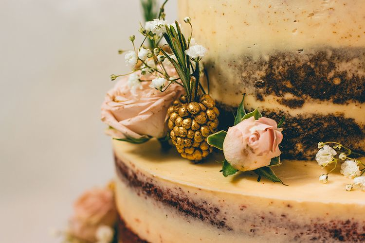Semi Naked Wedding Cake Decorated with Pastel Flowers and Gold Painted Blackberries | Halterneck Maggie Sottero Dress and Garden Games at Gate Street Barn | Story + Colour Photography