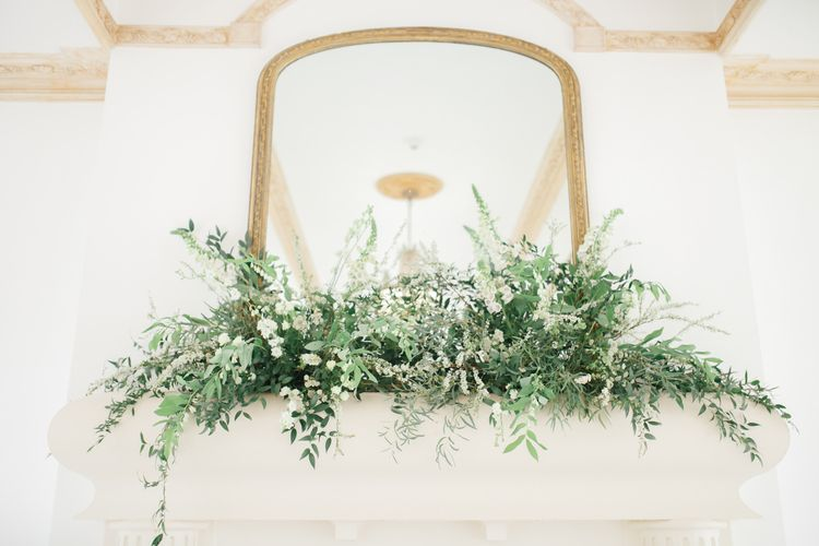 White and Green Mantel Piece Wedding Flowers