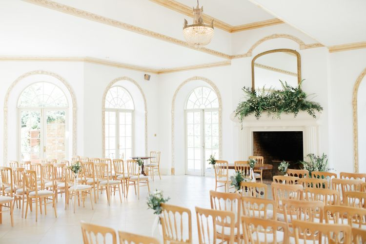 Northbrook Park Wedding Ceremony Room with White and Green Wedding Flowers