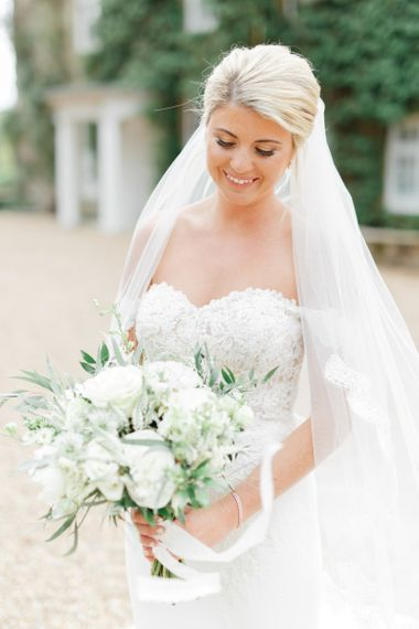 Beautiful Bride in Bardot Wedding Dress