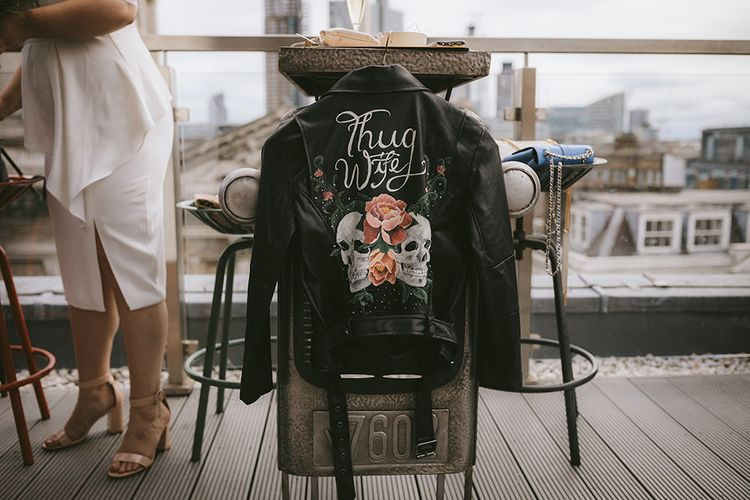Thug Wife Leather Jacket for Bride | Bike Shed Motorcycle Club Wedding for ELLE Digital Editor | Nigel John Photography