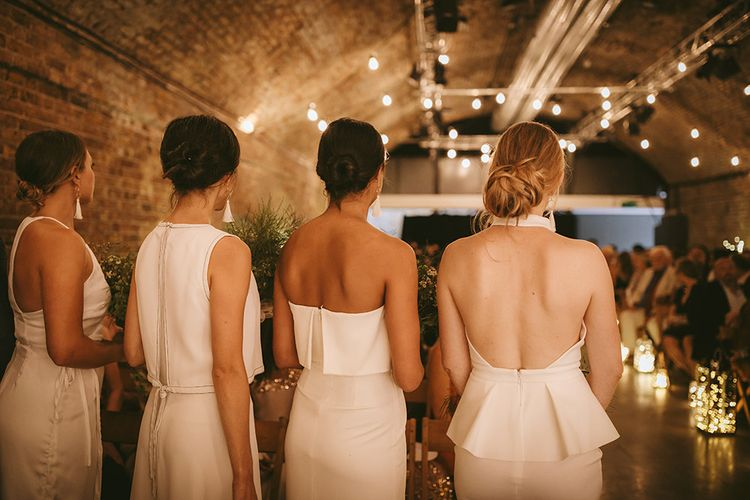 Wedding Ceremony | Bridesmaids in Mismatched White Dresses | Bike Shed Motorcycle Club Wedding for ELLE Digital Editor | Nigel John Photography