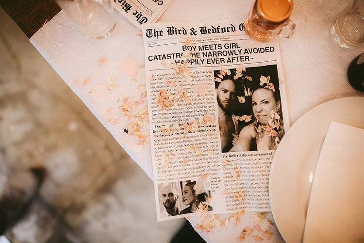 Fish Course Wrapped in Newspaper Article about Bride and Groom's Haphazard First Date | Bike Shed Motorcycle Club Wedding for ELLE Digital Editor | Nigel John Photography