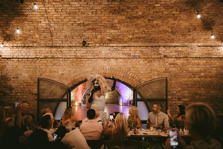 Drag Queen Entertainment | Bike Shed Motorcycle Club Wedding for ELLE Digital Editor | Nigel John Photography