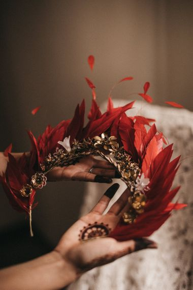 Gold Headpiece with Red Feathers | Festival Wedding with Naked Tipi Chill Out Area, Lace Bridal Separates, Feather Flower Crown and Protea Bouquet | Serafin Castillo