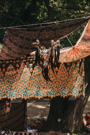 Dreamcatcher | Colourful Drapery | Festival Wedding with Naked Tipi Chill Out Area, Lace Bridal Separates, Feather Flower Crown and Protea Bouquet | Serafin Castillo