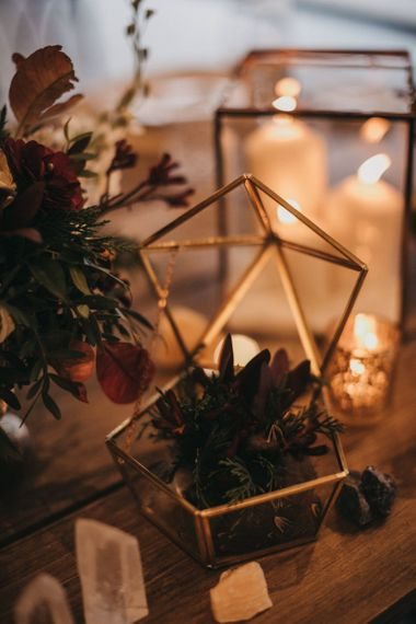 Gold Terranium | Crackle Gold Tea Light Holders | Mineral Rocks | Festival Wedding with Naked Tipi Chill Out Area, Lace Bridal Separates, Feather Flower Crown and Protea Bouquet | Serafin Castillo