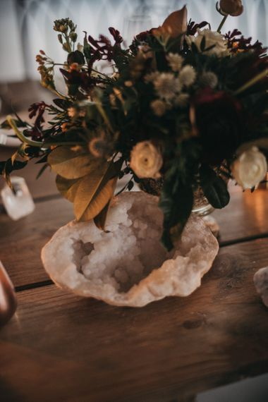 Mineral Rock | Burgundy, White and Blush Flower Centrepieces | Festival Wedding with Naked Tipi Chill Out Area, Lace Bridal Separates, Feather Flower Crown and Protea Bouquet | Serafin Castillo