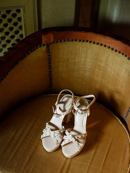 Bridal Shoes | Wedding Morning Preparations | Paradise Destination Wedding at Jnane Tamsna in Marrakech, Morocco | Nordica Photography | Matteo Castelluccia Film