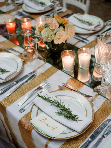 White & Gold Place Setting | Paradise Destination Wedding at Jnane Tamsna in Marrakech, Morocco | Nordica Photography | Matteo Castelluccia Film