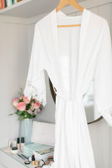 White Lace Trim Robe