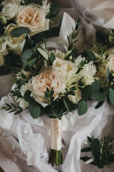 White and Peach Rose Wedding Bouquet
