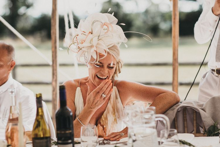 Mother of The Bride Laughing During the Wedding Speeches