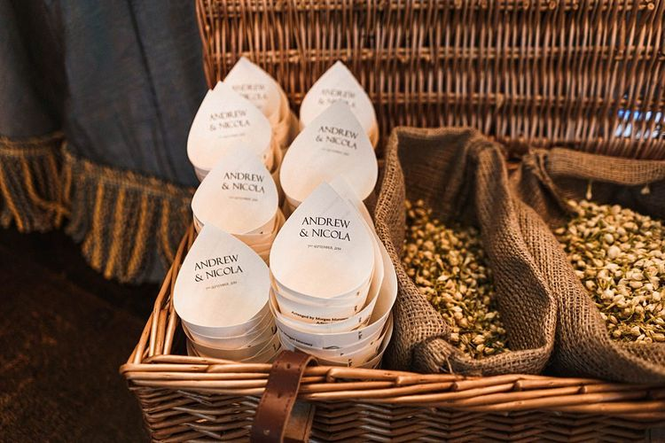 Personalised confetti cones for outdoor autumn Dewsall Court wedding