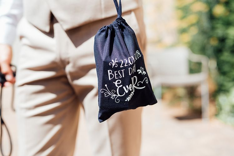 Best Day Ever Wedding Pouch | Rustic Greenery Wedding at Cripps Barn Cotswolds |Wedding_M Photography