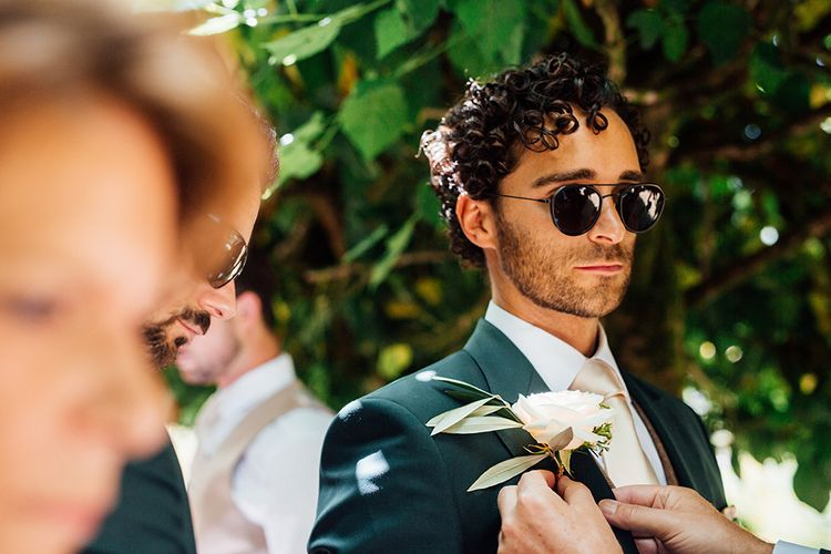 Groom in Navy Suit & Shades with Rose Buttonhole | Rustic Greenery Wedding at Cripps Barn Cotswolds |Wedding_M Photography