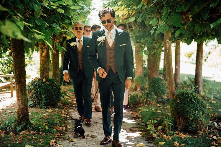 Groomsmen in Navy Suit & Tweed Waistcoat | Rustic Greenery Wedding at Cripps Barn Cotswolds |Wedding_M Photography