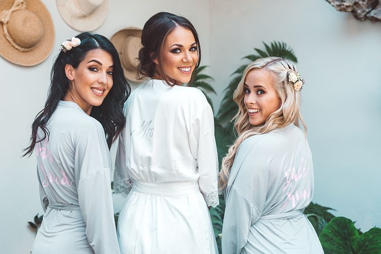 Wedding Morning Bridal Party Getting Ready Robes | Rustic Greenery Wedding at Cripps Barn Cotswolds |Wedding_M Photography