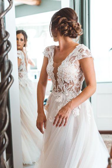 Wedding Morning Bridal Preparations | Bride in Antonia Berta Muse Wedding Dress | Rustic Greenery Wedding at Cripps Barn Cotswolds | Wedding_M Photography