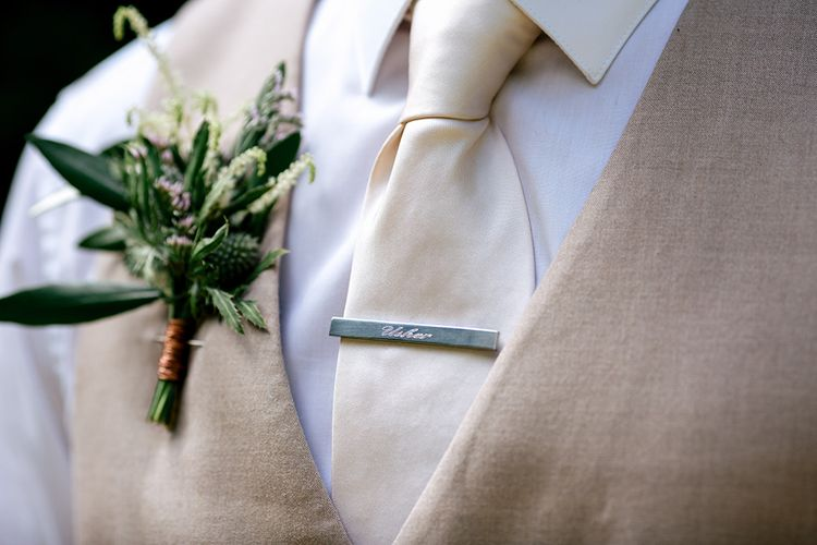 Personalised Tip Pin | Rustic Greenery Wedding at Cripps Barn Cotswolds | Wedding_M Photography