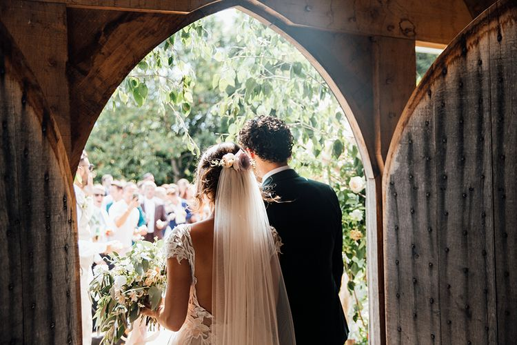 Bride in Antonia Berta Muse Wedding Dress | Groom in Navy Suit | Rustic Greenery Wedding at Cripps Barn Cotswolds | Wedding_M Photography