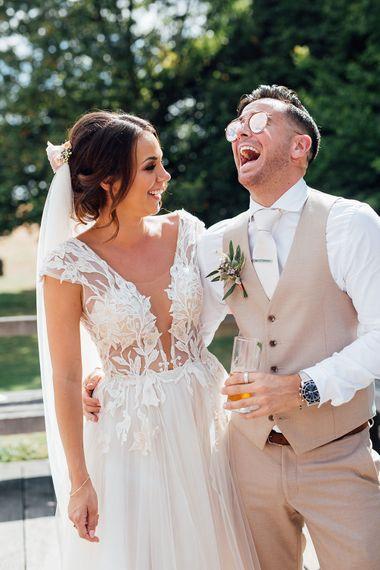 Bride in Antonia Berta Muse Wedding Dress | Rustic Greenery Wedding at Cripps Barn Cotswolds | Wedding_M Photography