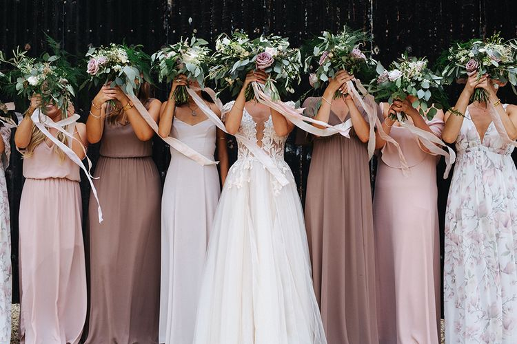 Bridal Party | Bridesmaids in Show Me Your Mum Neutral Dresses | Bride in Antonia Berta Muse Wedding Dress | Rustic Greenery Wedding at Cripps Barn Cotswolds | Wedding_M Photography
