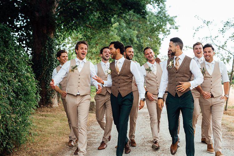 Groomsmen in Waistcoats |  | Rustic Greenery Wedding at Cripps Barn Cotswolds | Wedding_M Photography