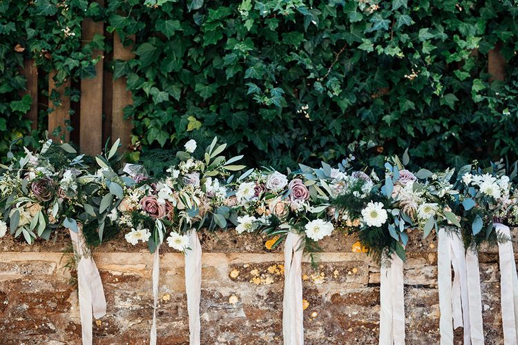 Romantic Rose Bouquets with Foliage & Ribbons | Rustic Greenery Wedding at Cripps Barn Cotswolds |Wedding_M Photography
