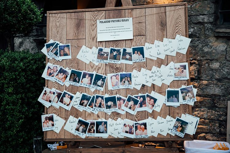 Polaroid Picture Wedding Decor | Rustic Greenery Wedding at Cripps Barn Cotswolds | Wedding_M Photography